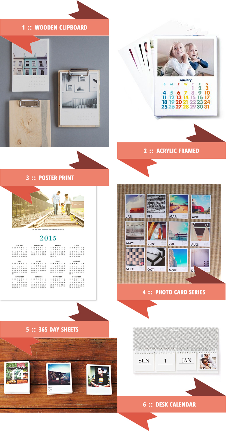 So many calendars, so little time. Love these 2015 custom photo calendar designs - especially the wooden clipboard one.