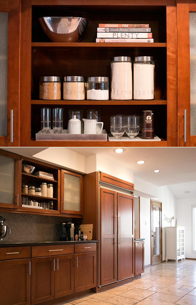 Open kitchen shelving with a DIY project for labelled jars.