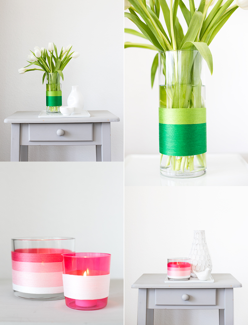 Such a simple update for spring: string-wrapped colorblock vases.