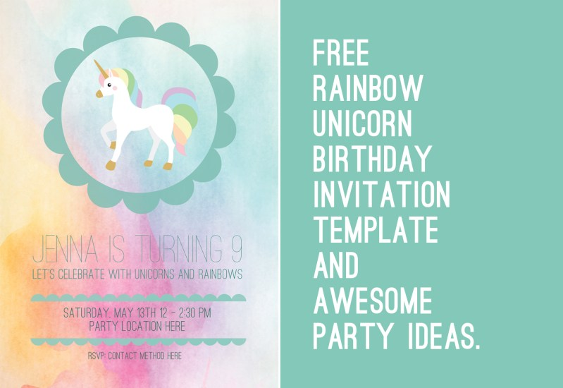 free unicorn birthday party template