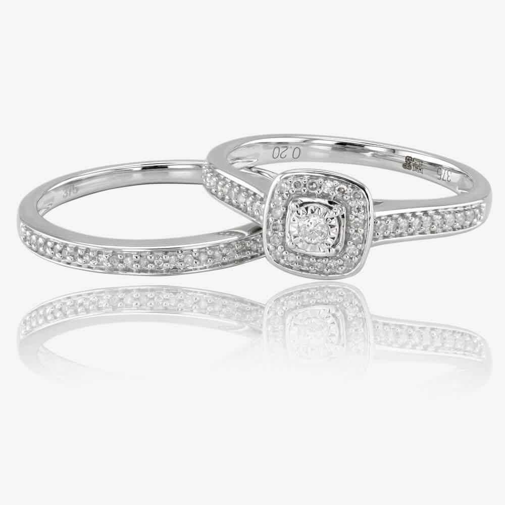 wedding rings pics of wedding rings 9ct White Gold Diamond Cluster Bridal Set