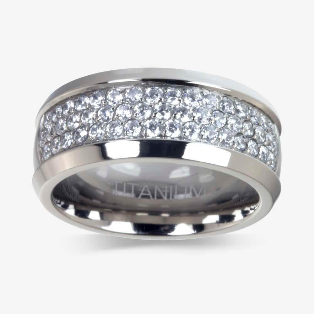 rings mens wedding rings for guys Men s Titanium DiamonFlash sup sup Cubic Zirconia Ring
