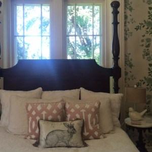 A light, airy color palette and soft textiles give the Bridal Suite at Warrenwood a feminine feel.