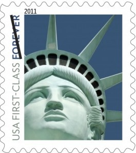 U.S. Postal Service, File/Associated Press -  This undated image provided by the Postal Service shows the Lady Liberty first class postage stamp first issued in 2011. The design was not based on the statue in New York Harbor but on a replica outside the New York-New York casino in Las Vegas.