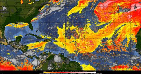 We re entering the peak of Atlantic hurricane season  but where are     A multi channel satellite image from GOES 16 over the Atlantic basin  with  yellow orange red colors added to indicate areas of dry  dusty air  originating