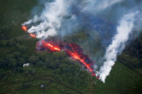 Hawaiian geography for mainlanders   The Washington Post Lava erupts from a fissure east of the Leilani Estates subdivision during  ongoing eruptions of the Kilauea volcano on the Big Island of Hawaii on May  13