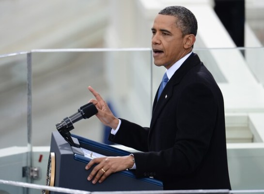 President Obama delivery his second inaugural address. 