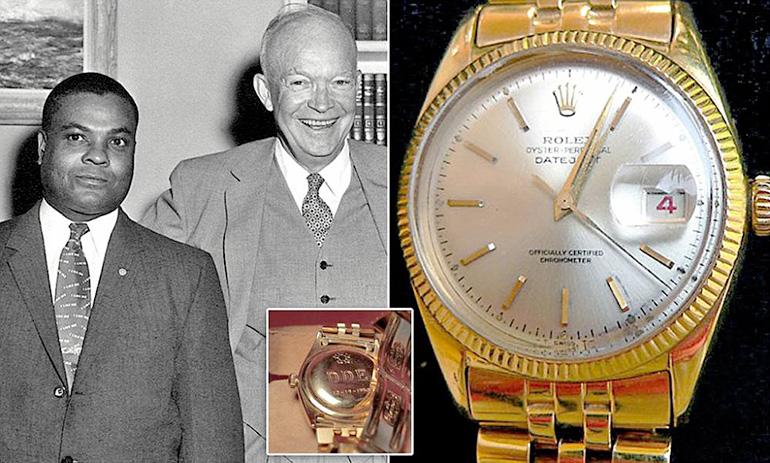 Montre de face Rolex du président Eisenhower avec son majordome