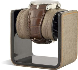 LEPSI Watch Analyser socle cuir vue coté avec montre