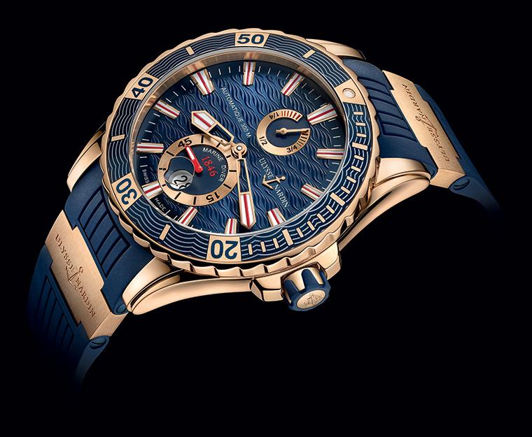 Ulysse Nardin Marine Diver Gold Or Bleu vue couchee