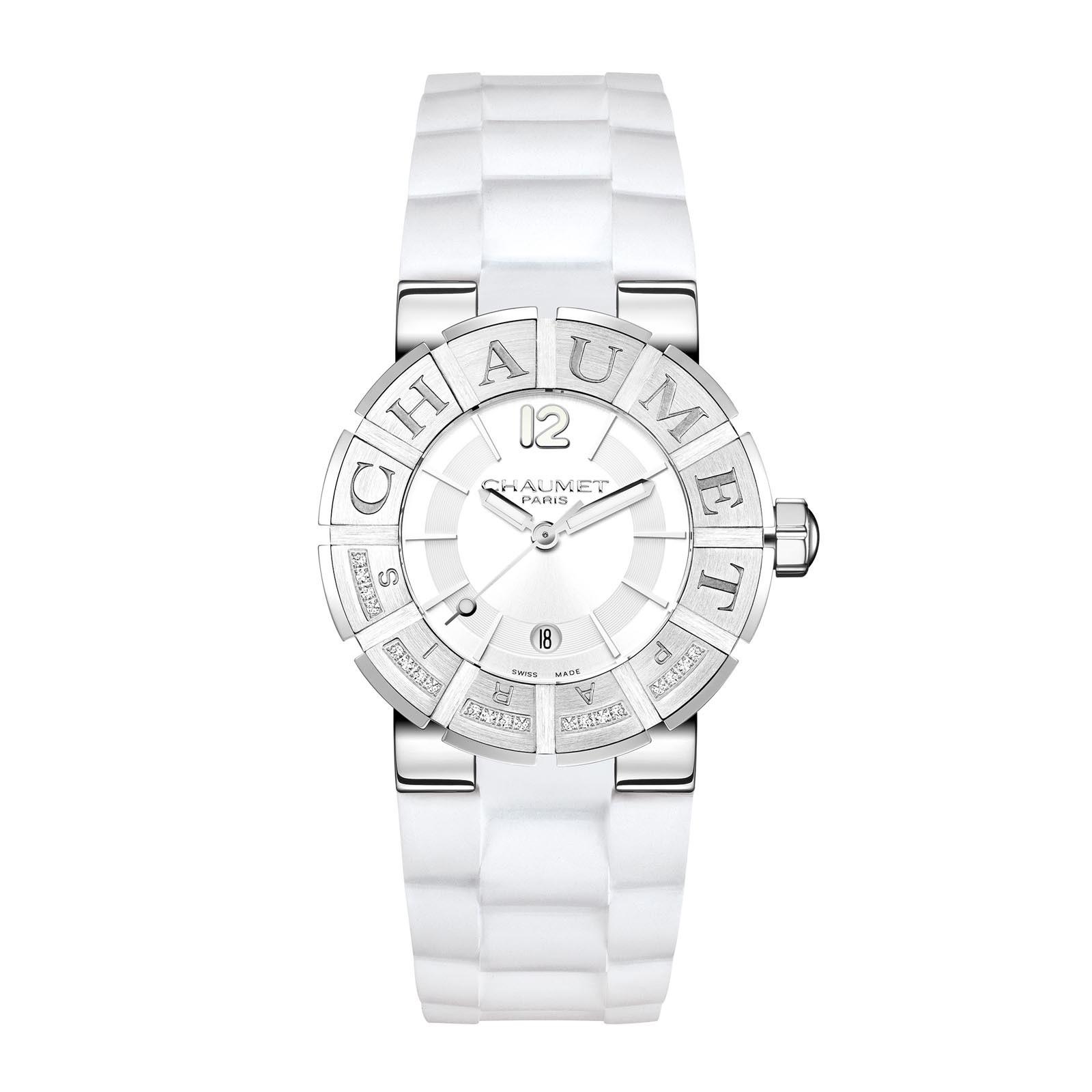 Montre Chaumet Class One bracelet caoutchouc blanc