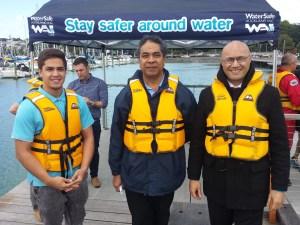 L to R: ToaAriki Clausen (WAI), Filipo Motulalo (ACC), Joseph Liava'a (East Tamaki Healthcare) supporting Safer Boating Week.