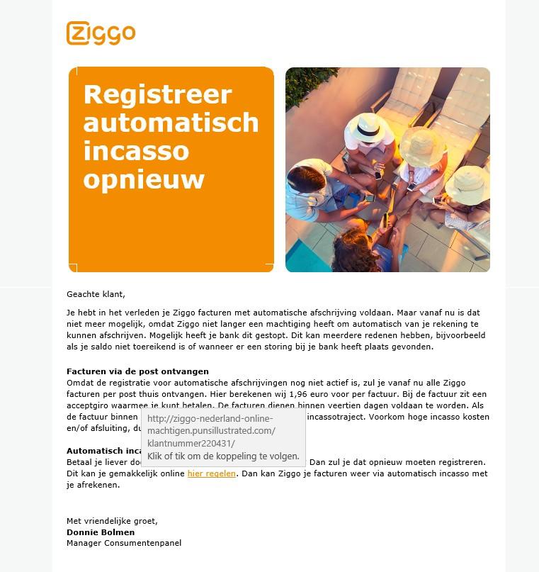 Ziggo phishing mail