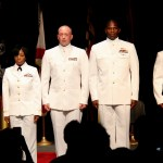 From left, Ensign Damaris Parrilla-Fernandez, Ensign Shannon Myers, Ensign Wesley Limberg, Ensign Julius Jones and Ensign Robert Todd Brown at  the JU MECP Commissioning Ceremony April 25.