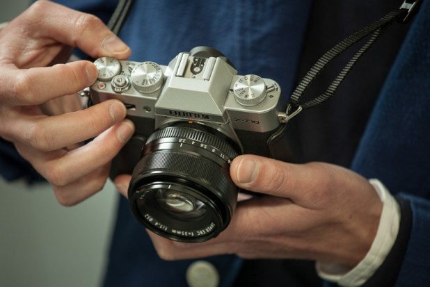 fujifilm X-T10 silver Body with 16-50mm  lens showing dials
