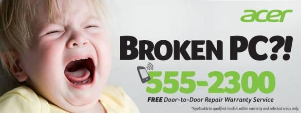 Acer Free door to door repair service