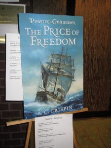 A poster-sized version of A.C. Crispin's book advertised the launch party at the Baltimore science fiction convention.