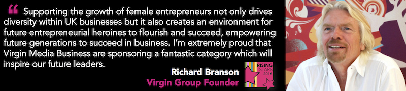 Richard Branson- Rising Stars supporter of female Entrepreneurs