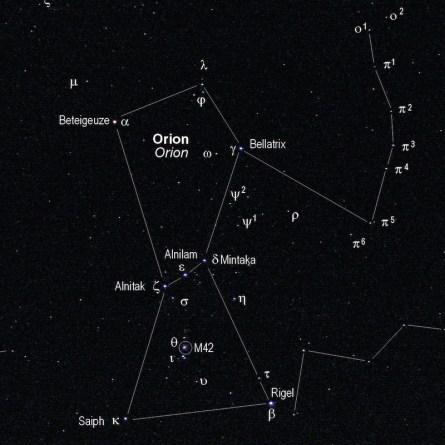 orion sterrenbeeld aan de hemel kijken