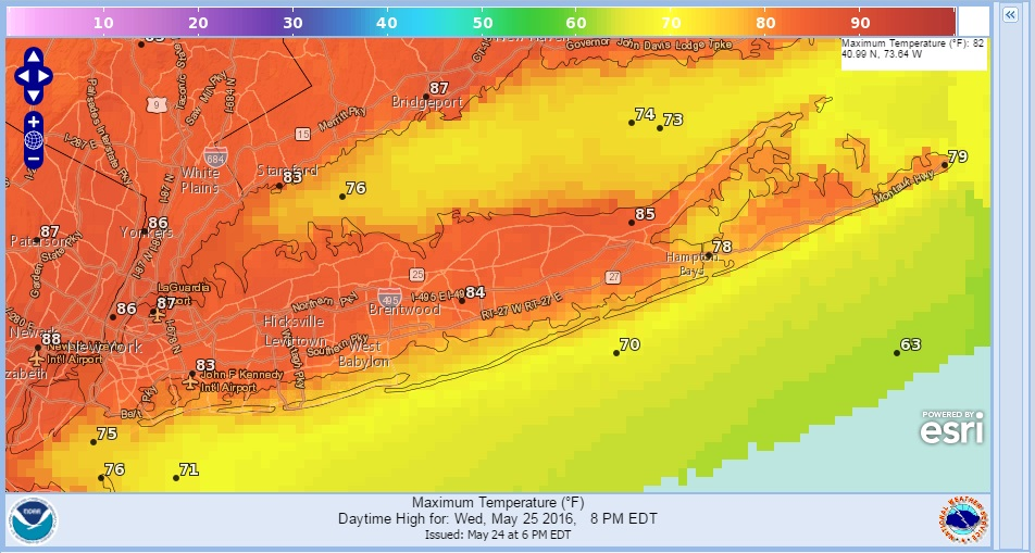 Temperatures Near 90 On Long Island