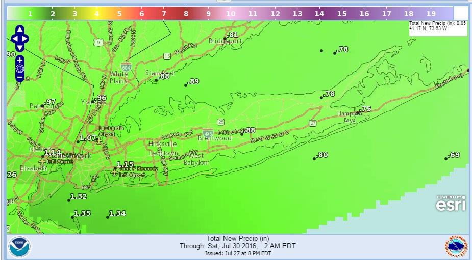 Rainfall for Long Island Friday