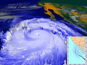 Hurricane Linda made an unusually close approach to California in Sep. 1997 (via NASA).