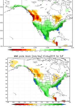 Side-by-side comparison of national vs. international multi-model ensemble forecast for winter 2015-2016. Both suggest above-average temperatures in California. (NOAA CPC)