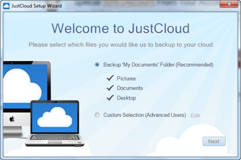 JustCloud backup folders JustCloud Review   Online Backup Service