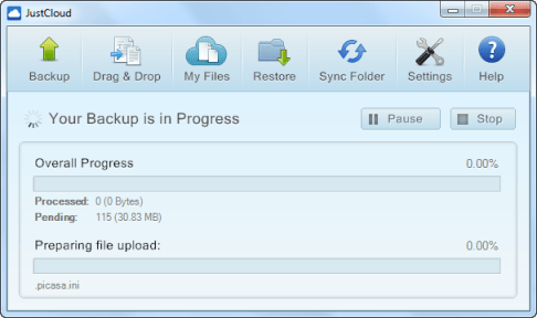 JustCloud backup progress JustCloud Review   Online Backup Service