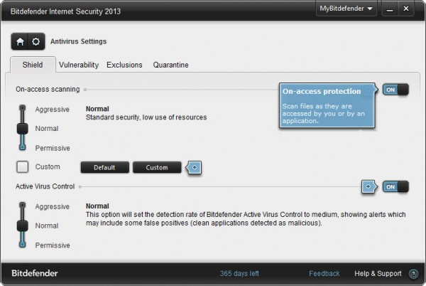 Bitdefender Internet Security 2013 settings