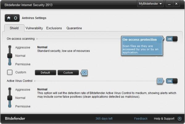 Bitdefender Internet Security 2013 settings