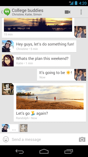 Google Hangouts Chat screen