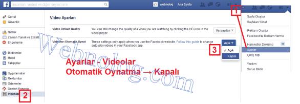 Otomatik başlayan facebook videolarını engelleme