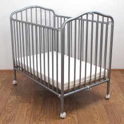 L a Baby Cs 81 24 X 38 Pewter Colored Metal Folding Crib With 2