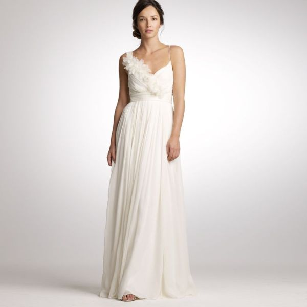 Sheath V-neck Chiffon Wedding Dress