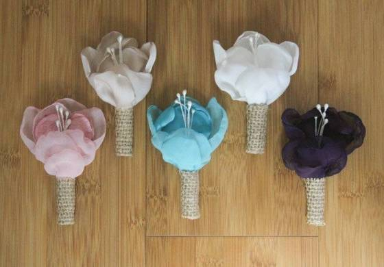 5 Beautiful Fabric Flower Boutonnières