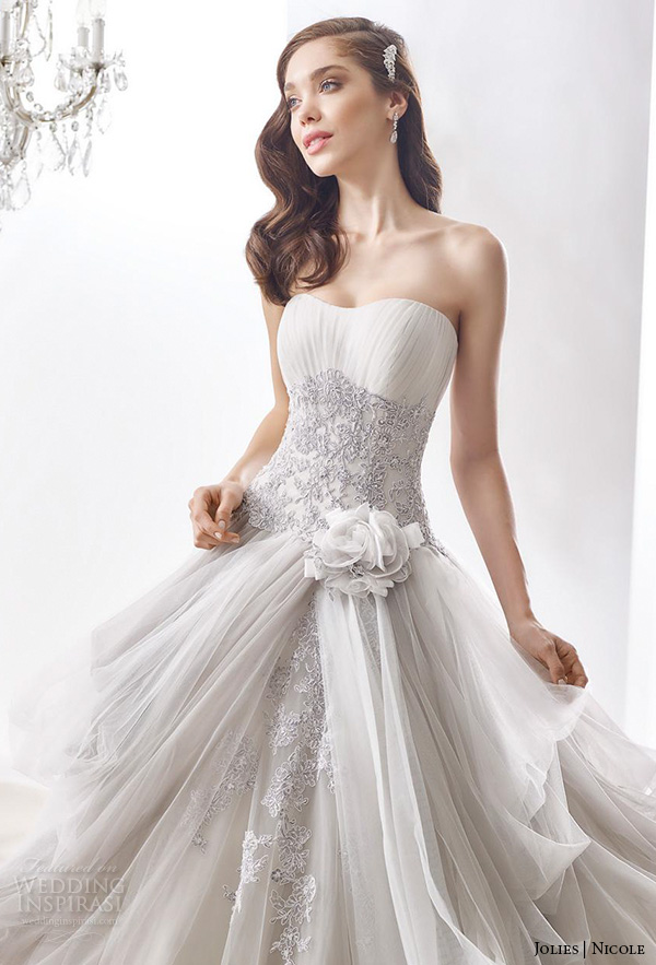 nicole jolies 2016 wedding dresses strapless sweetheart neckline beautiful grey ball gown wedding dress joab16405 close up