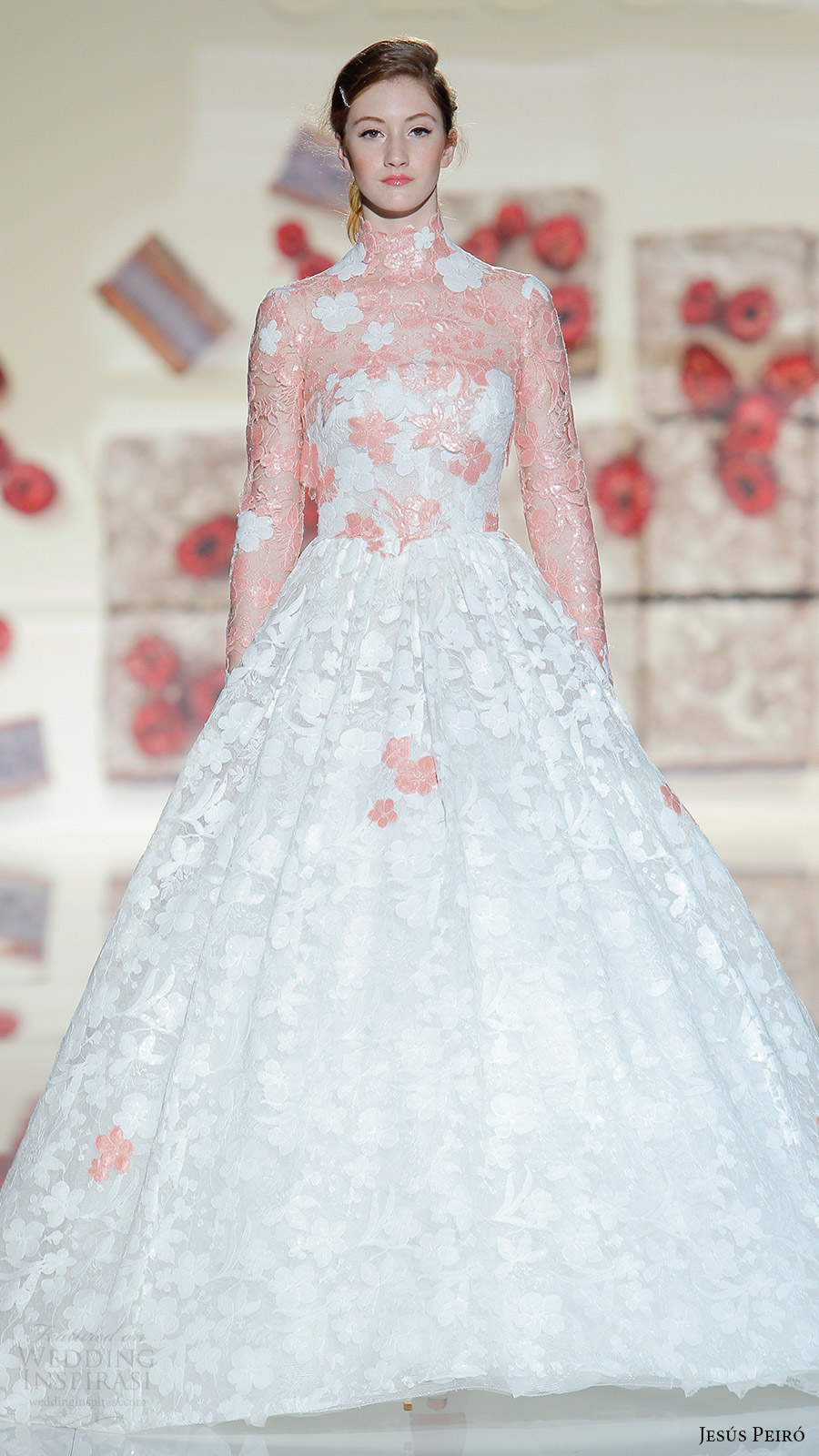 Wedding Dress Color Trends : Jesus peiro bridal long sleeves high neck ball gown weddng dress