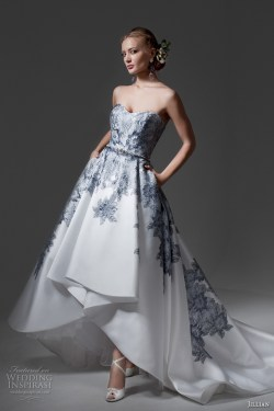 Eye Jillian 2017 Bridal Strapless Heart Neckline Heavily Embellished Bodice Blue Color A Line Low Wedding Dress Chapel Train Mimi Mv Low Wedding Dresses Atlanta Low Wedding Dresses Cheap