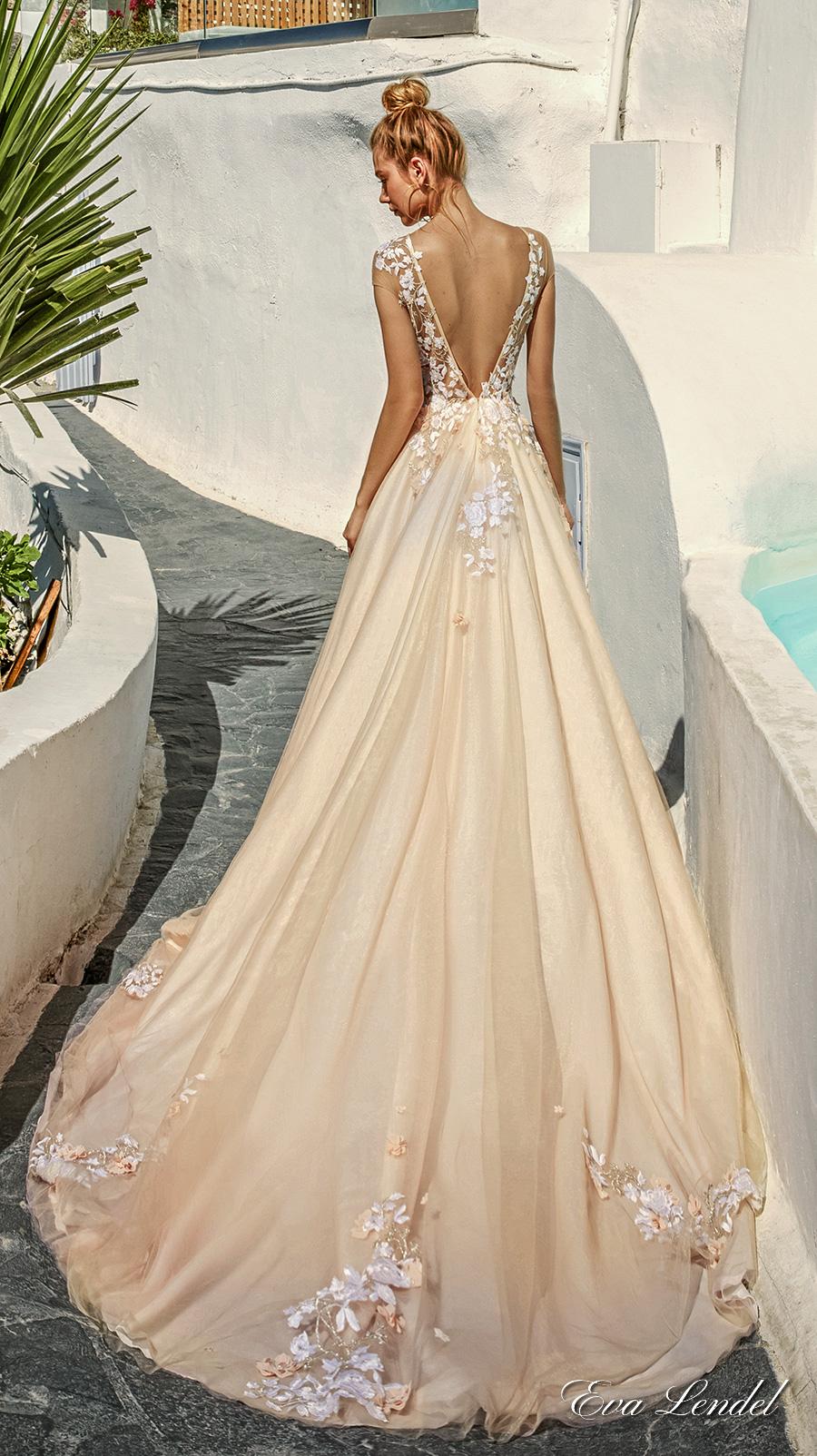 eva lendel 2017 bridal sheer cap sleeves sheer jewel neck sweetheart neckline heavily embellished bodice blush color romantic a line wedding dress open v back chapel train (kate) bv