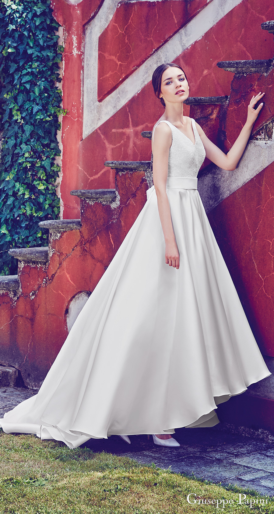 giuseppe papini 2017 (capri) sleeveless v neck beaded bodice a line high low wedding dress mv