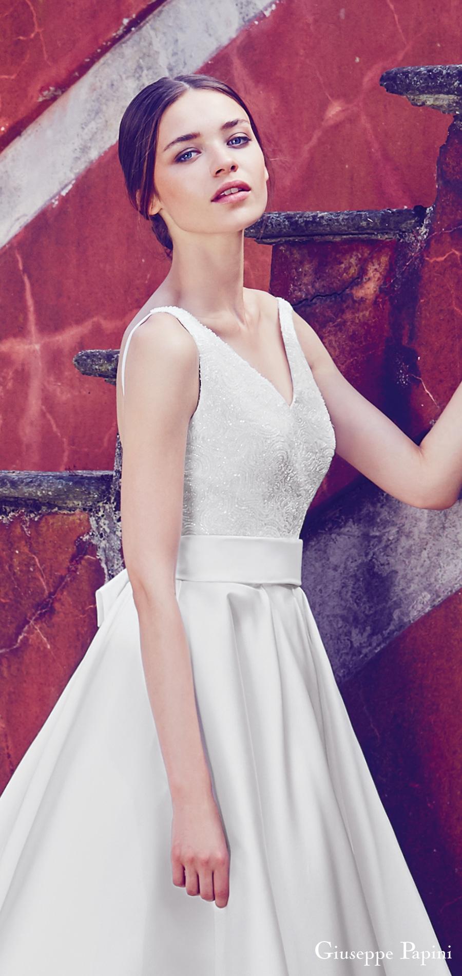 giuseppe papini 2017 (capri) sleeveless v neck beaded bodice a line high low wedding dress zfv