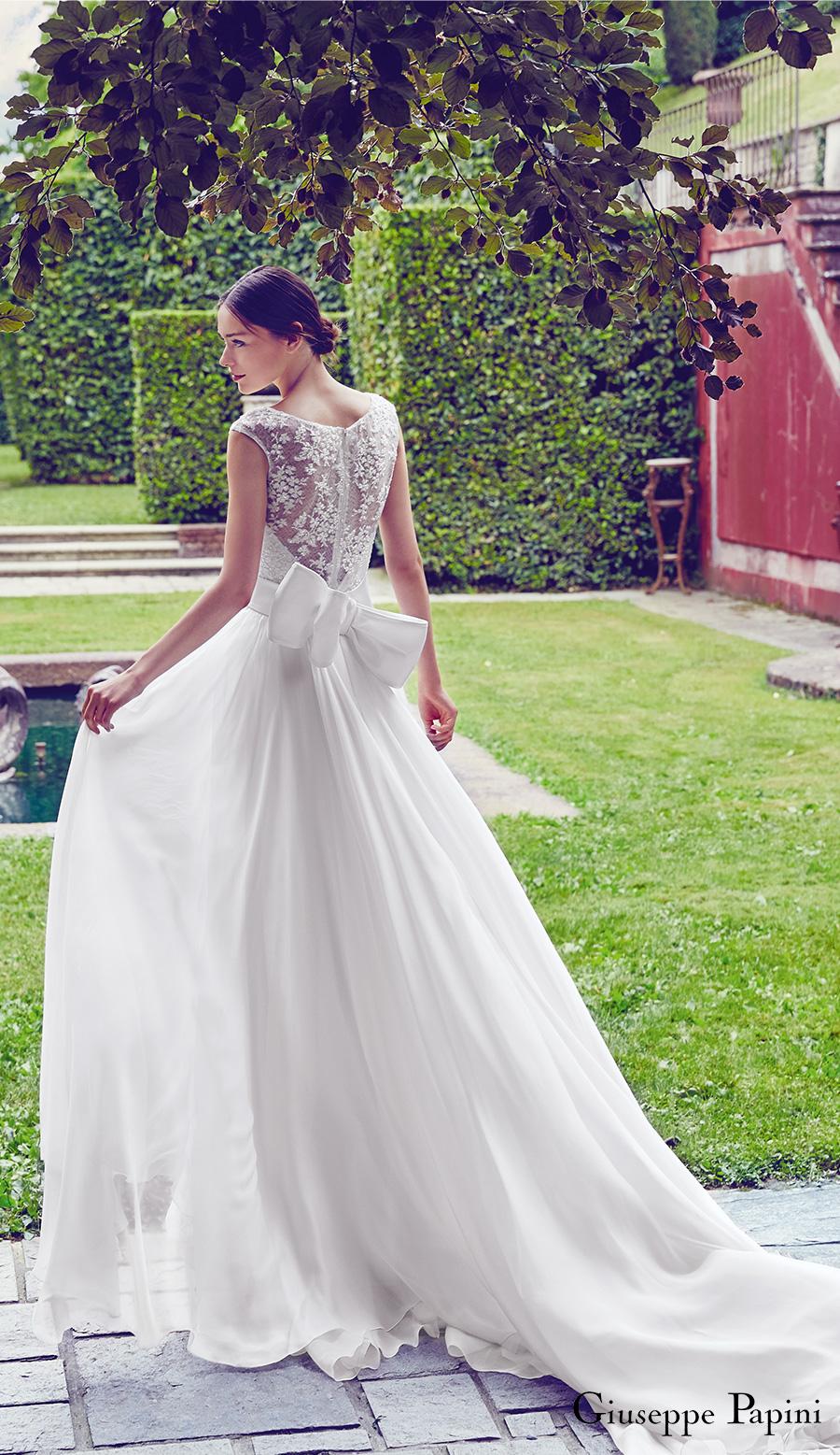 giuseppe papini 2017 (portofino) cap sleeve illusion back a line wedding dress bv romantic