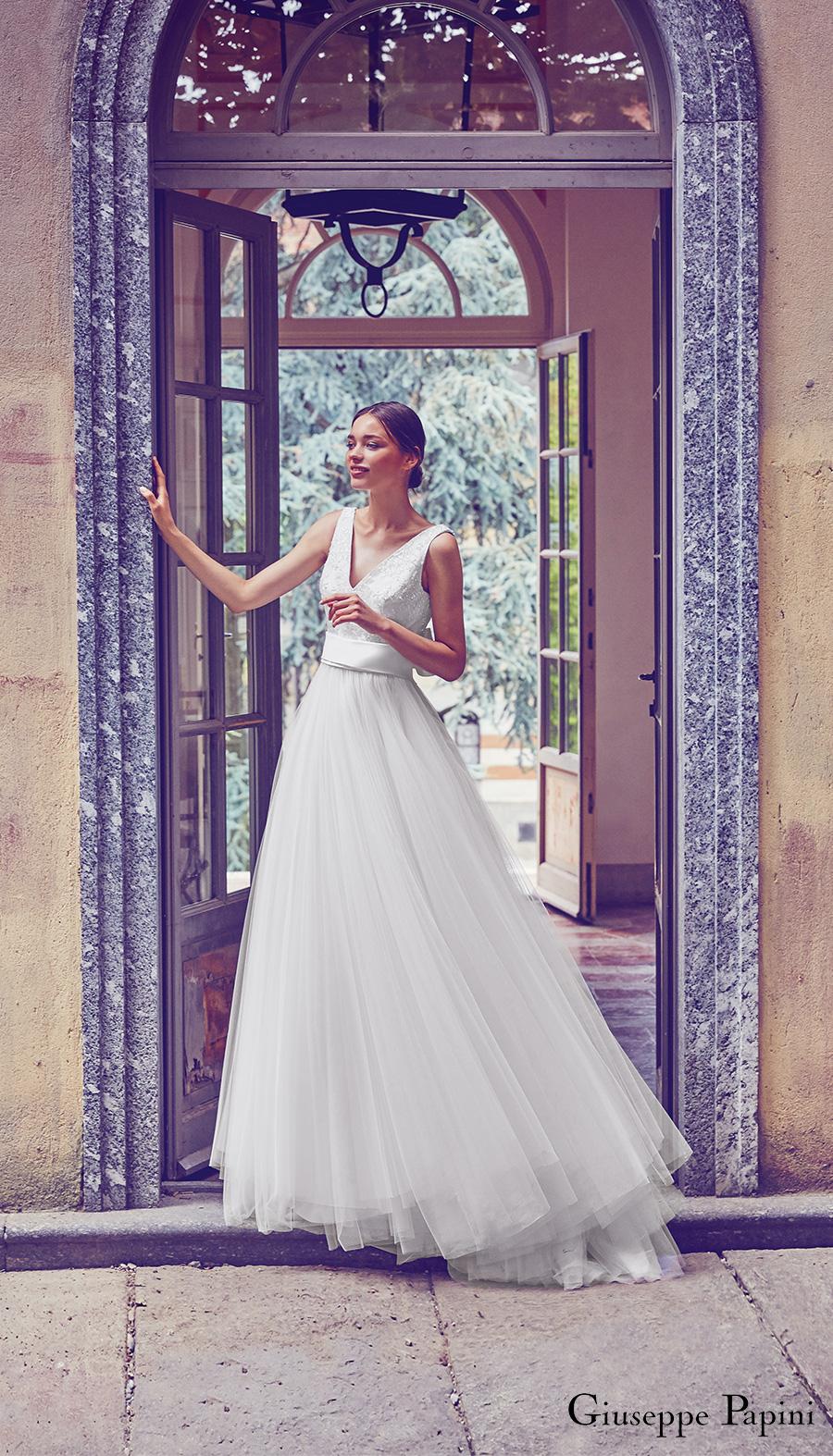 giuseppe papini 2017 (venice) sleeveless v neck beaded bodice a line wedding dress mv romantic