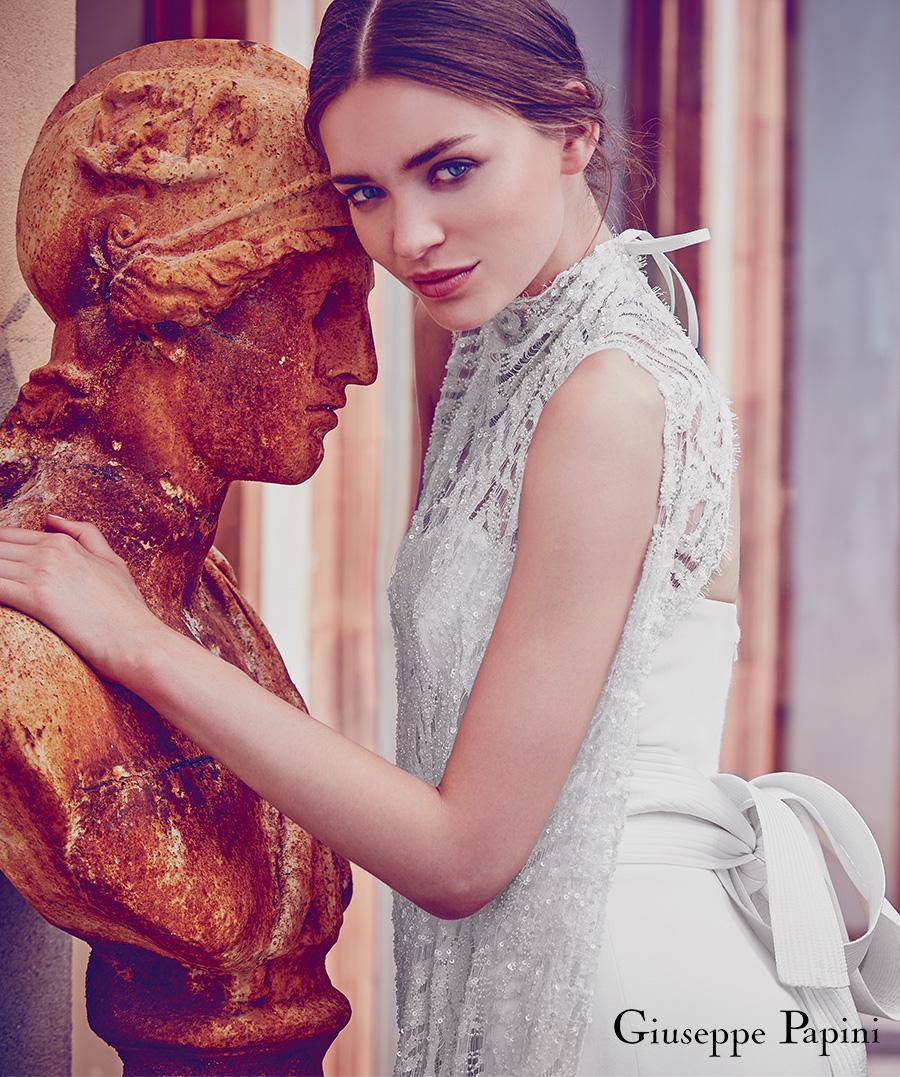 giuseppe papini 2017 (viareggio) sleeveless high neck beaded lace wedding dress sv