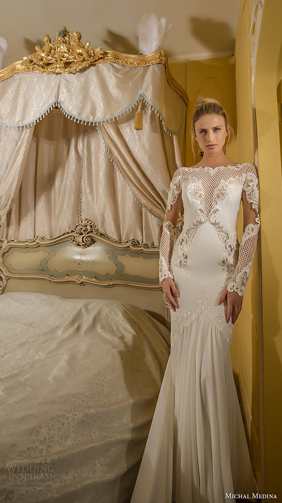 michal medina 2017 bridal long sleeves bateau neckline heavily embroidered bodice elegant fit and flare wedding dress lace back royal train (elizabeth) fv