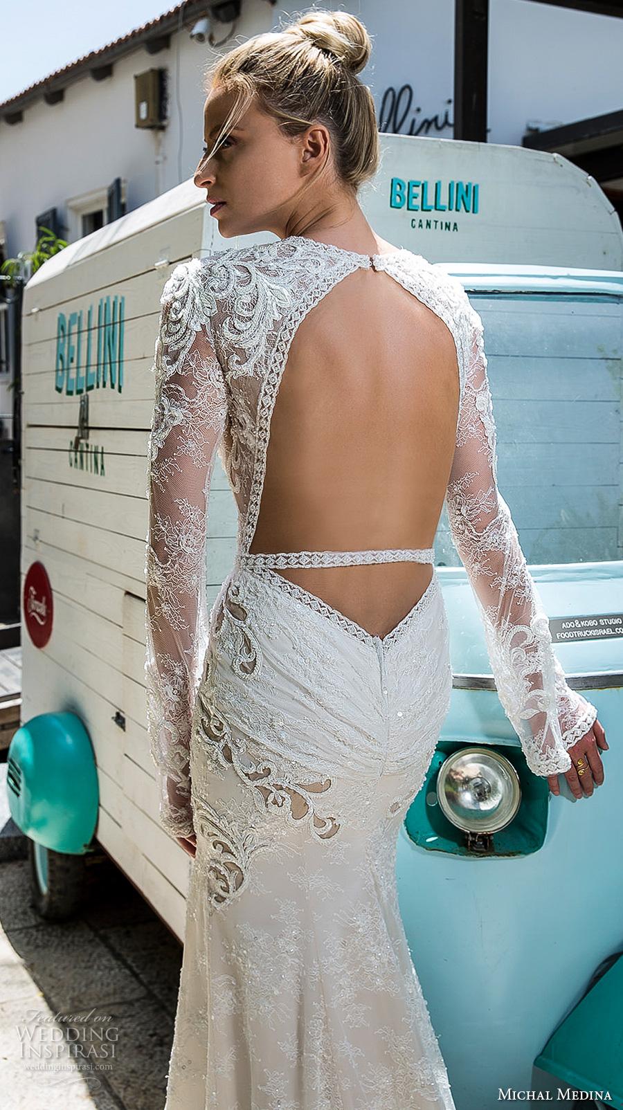 michal medina 2017 bridal long sleeves jewel neckline keyhole heavily embellished bodice high middle slit elegant sexy sheath wedding dress keyhole back sweep train (nicole) bv