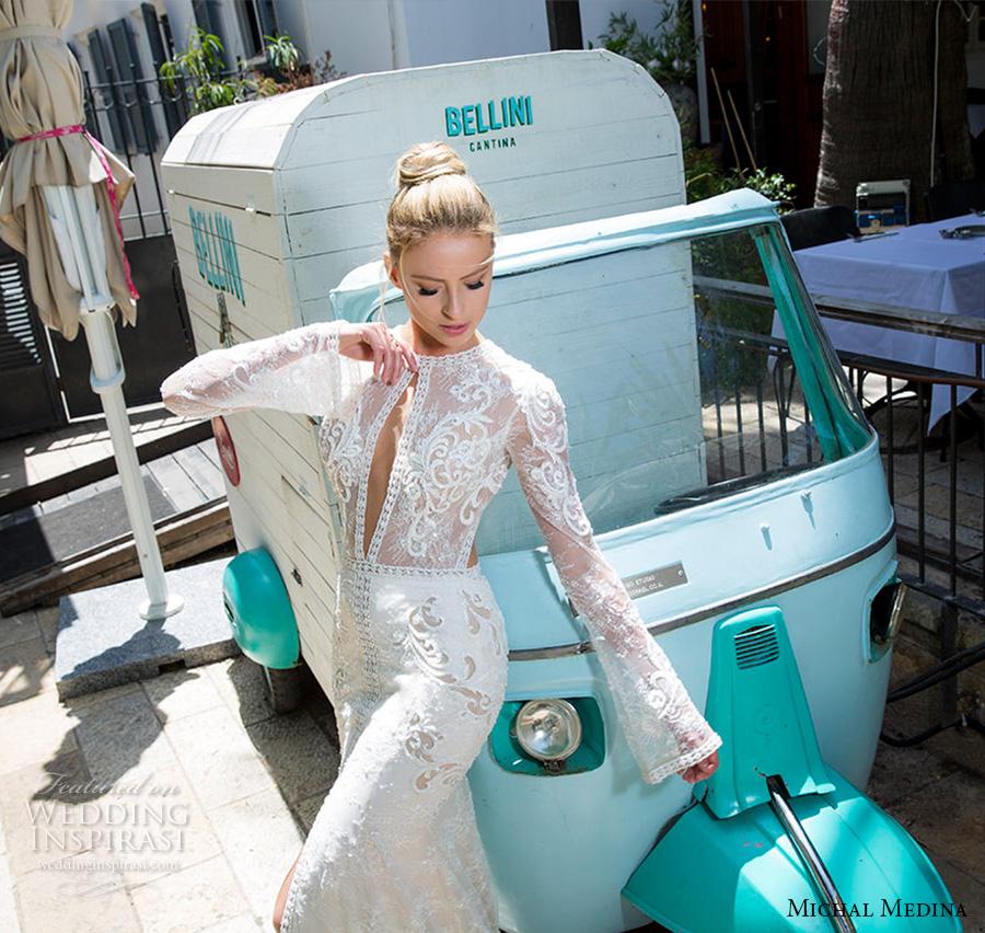 michal medina 2017 bridal long sleeves jewel neckline keyhole heavily embellished bodice high middle slit elegant sexy sheath wedding dress keyhole back sweep train (nicole) zv