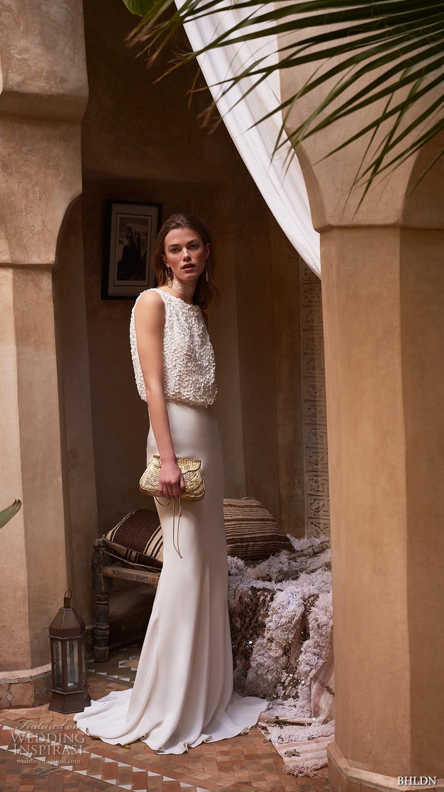 bhldn spring 2017 bridal sleeveless jewel neck heavily embellished bodice blouson elegant casual sheath wedding dress keyhole back sweep train (imogene) mv
