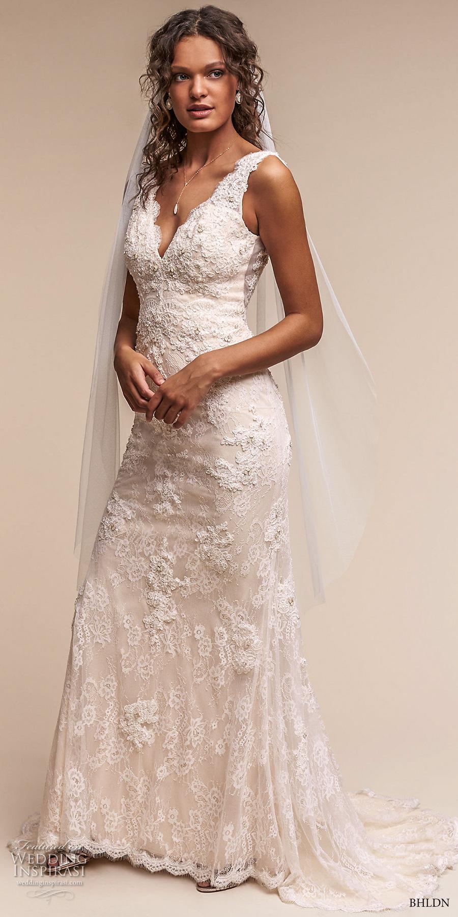 bhldn spring 2017 bridal sleeveless v neck full embellishment elegant sheath wedding dress open v back sweep train (eliana) mv